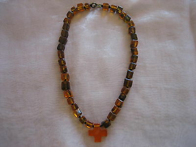 Early Vintage Dinosaur Designs Necklace Square Amber Resin Beads With Cross
