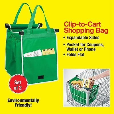 2 Pcs New Reusable Grocery Shopping Eco Bags Clip-To-Cart Grab Bag As Seen On TV