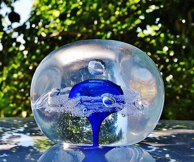 ART GLASS PAPER WEIGHT - Etched/Signed GC - Clear & Sapphire/Cobalt Blue