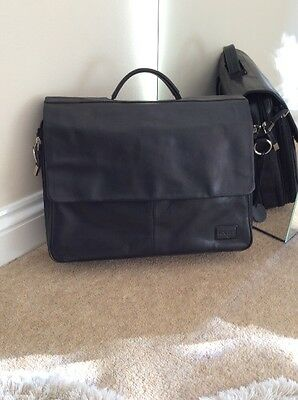 To Black Real Leather Hand/crossbody Brief Case/ Document Bag