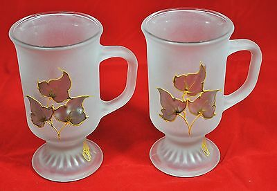 Pair of Frosted & Decorated Pedestal Coffee Mugs; Anchor Hocking & Artist Signed