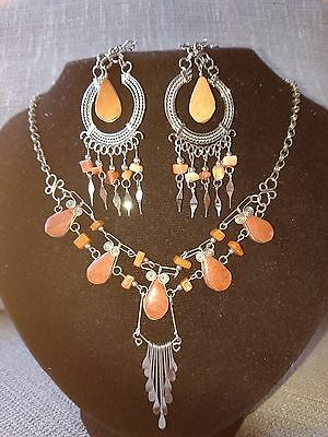 Jasper Necklace and Earrings Set  with Alpaca Silver