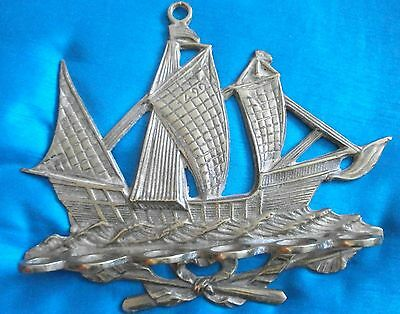 Vintage Brass Sailing Ship Pipe Rack - Holds 6 Pipes