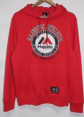 Mens New Majestic Athletic Logo Patch Hooded Sweatshirt Hoodie MLB Hoody Size M