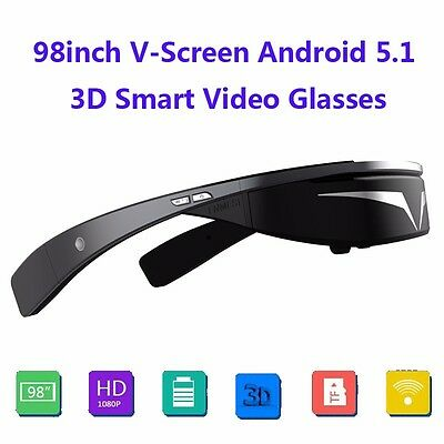 """98"""" FHD 1080P Android 5.1 WiFi Touch-Button Ball Opera Browser 3D Video Glasses"""