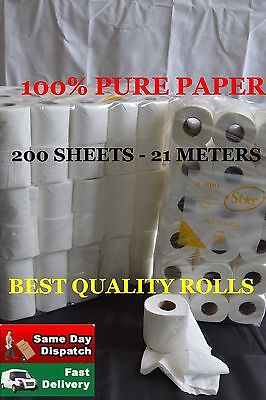 144 Toilet Rolls 2Ply 200 Sheet Tissue Luxury Quilted Paper 4 Cases Jumbo
