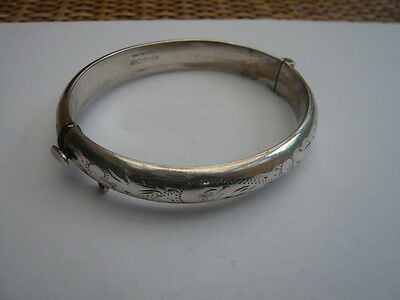 Vintage Retro 1970,s 925 Sterling Silver Bangle Bracelet Fully Engraved Hm 1969