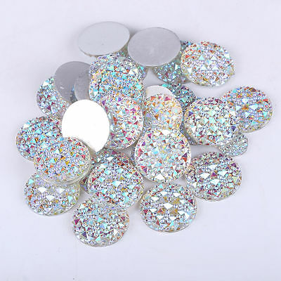 MG3- 30mm Round Rhinestone DIAMANTE Flat Back Faceted CLEAR Resin Moonrock Gems