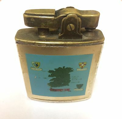 Rare Vintage Wind Up Musical Lighter From Canary With Map Of Ireland On The Case