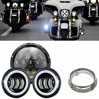 2x 4.5inch Fog Lamp + 7inch CREE LED Headlight + Bracket Harley DAYMAKER Replace