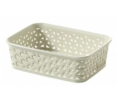 Curver My Style Rattan Tray Basket Vintage White A6 Storage Organiser