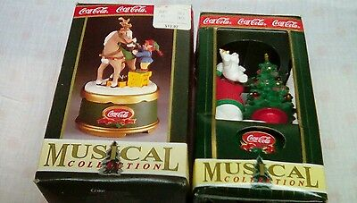 COCA COLA COKE lot of 2 Christmas music boxes musical collection