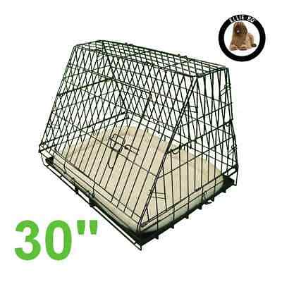 Sloping Puppy Cage Folding Dog Crate Non-Chew Metal Tray Medium 30-inch Black