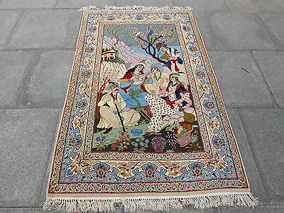 Pictorial Traditional Hand Made Persian Oriental Rug Wool Silk Blue 172x110cm