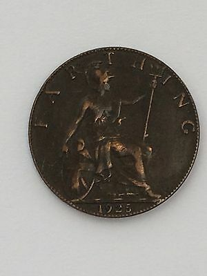 1925 King George V  - British Farthing Coin