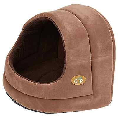 Gor Pets Hooded Luxury Cat Bed Igloo - Medium (Brown Suede) - SAME DAY DISPATCH