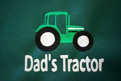 """Dad's Tractor"" embroidered Seat Cover Waterproof Ideal Xmas present"