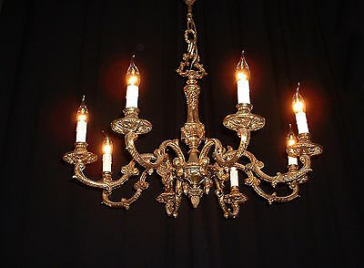 Large French bronze Empire style chandelier with 8 arms