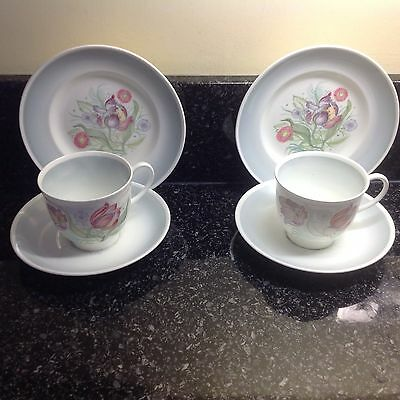 Two Susie Cooper  Vintage Parrot Tulip Trios Cups,  Saucers And Side Plates.