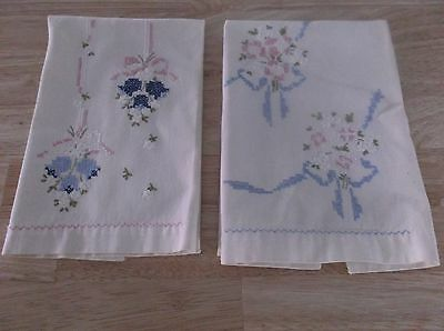 2 Lovely Vintage Hand Stitched/embroidered Floral Guest Hand Towels