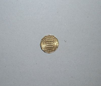 1967 BRASS 3d THREE PENCE COIN, UNCIRCULATED - 50TH BIRTHDAY GIFT