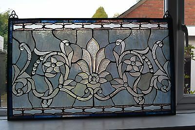 Large Stunning Rare Antique Pair Stained Glass Panels/art -  Blues/greys/silvers