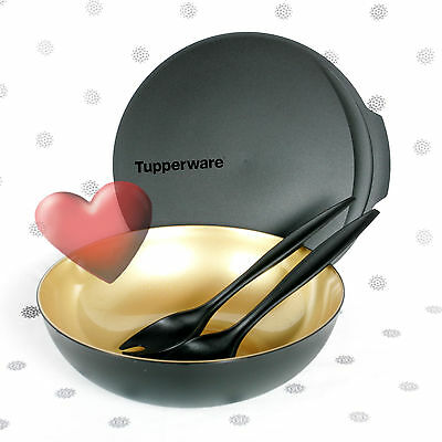 NEW Tupperware Serving Perfection Large Bowl with Seal Servers Black and Gold