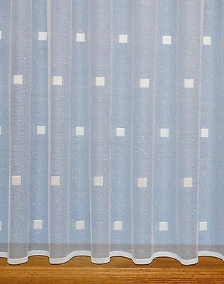 Squares Modern Net Curtain ~ Sold By The Metre ~ Lace Voile