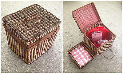 Vintage Wicker Picnic Basket Hamper Complete with Contents - Plates, Cups, etc.