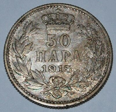 Serbia - 1915 50 Para - Peter I - With Designers Name - Coin Die - TC1315