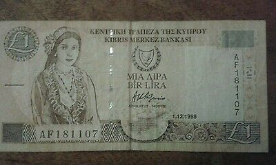Cyprus 5 Cypriot Pounds Banknote Serial Number L499602 Date 2001 Initial L