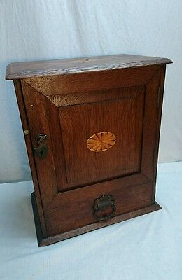 Vintage Antique Victorian Smokers Desktop Cabinet For Pipes  Drawers + Key