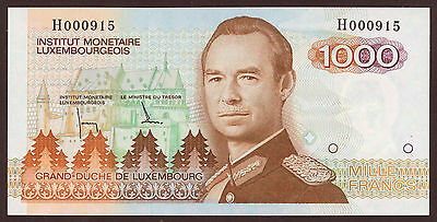 Luxembourg 1000 Francs (1985) low number H000915 UNC P.59