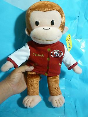 Curious George In SF 49ers Coach Jacket Plush---About 15 In Tall---New With Tag