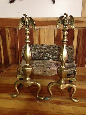 Vintage English Bellows Eagles Fireplace Andirons Brass Fire Dogs Fireplace Log