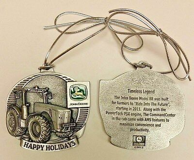NEW John Deere 8R Tractor Happy Holidays Pewter Ornament LP44508