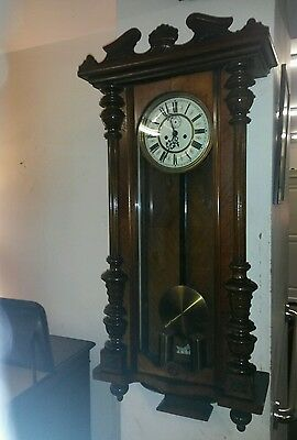 antique  gustav becker double  weighted Vienna wall clock.
