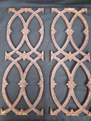 Architectural Salvage Cast Iron Star Point Flowers & Scrolls Plaques Set of 2