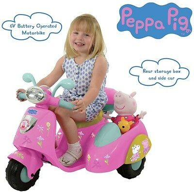 Peppa Pig Electric Ride On Bike with Side Car Childrens Outdoor Toy