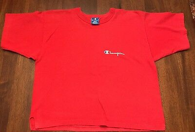 Vintage CHAMPION Crop Top Belly T Shirt Size L Made In The USA