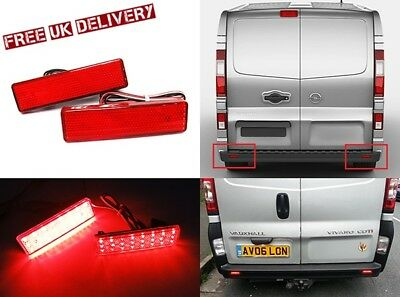 2 Vauxhall Vivaro Movano Red Rear Bumper Reflector LED Tail Stop Light Primastar