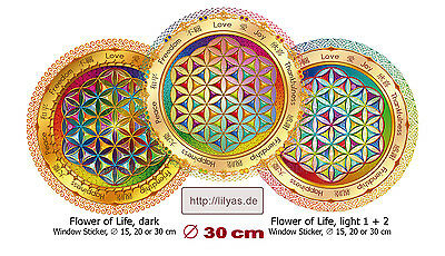 Blume des Lebens Fensterbild 30cm Window Sticker Flower of Life Mandala Yoga