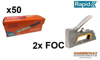 Rapid 13 Type Staples 6Mm X 50 Boxes Of 5K + 2 Rapid R23E Hand Staple Guns Free