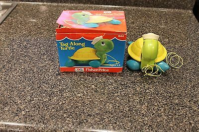 FREE SHIPPING - 1977 VTG Fisher Price TAG-ALONG TURTLE w/ Box #644