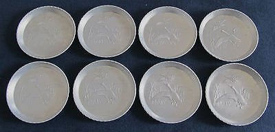 Set of 8 Vintage Hammered ALUMINUM Coasters with GEESE Ducks Design