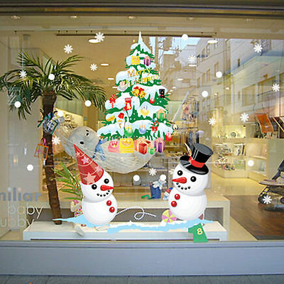 Merry Christmas Snowman Vinyl Wall Stickers Decals Removable DIY Window Decor