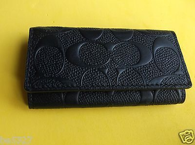 NWT Coach Men's 4 ring key case in Signature Embossed Crossgrain leather F66293