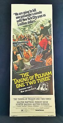 Original 1974 THE TAKING OF PELHAM ONE TWO THREE Movie Poster 14 x 36 Stunner!