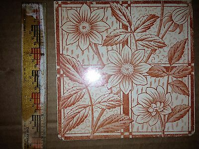 ca. 19th c. Victorian or Aesthetic Movement brown Floral tile
