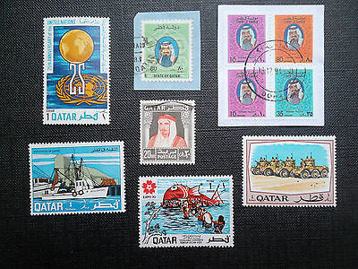 QATAR Postage Stamps STATE OF QATAR selection of stamps on and off paper